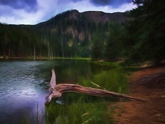 Middle Fork Lake - Topaz Impression (Jim Nix / Nomadic Pursuits) Tags: travel lake mountains newmexico alpine nm redriver hdr middleforklake nomadicpursuits topazimpression