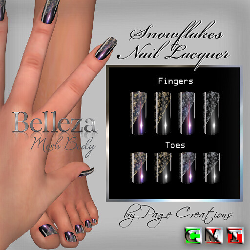 ღ ♡ Nail Lacquers For Belleza ♡ ♡ ღ Snowflakes Black by Page Creations™