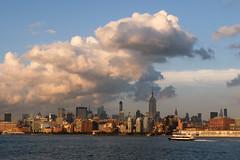 Clouds over the midtown New York City skyline / Fujifilm X20 (ho_hokus) Tags: newyorkcity ny newyork ferry skyline clouds manhattan midtown hudsonriver empirestatebuilding x20 2014 nywaterway fujix20 fujifilmx20