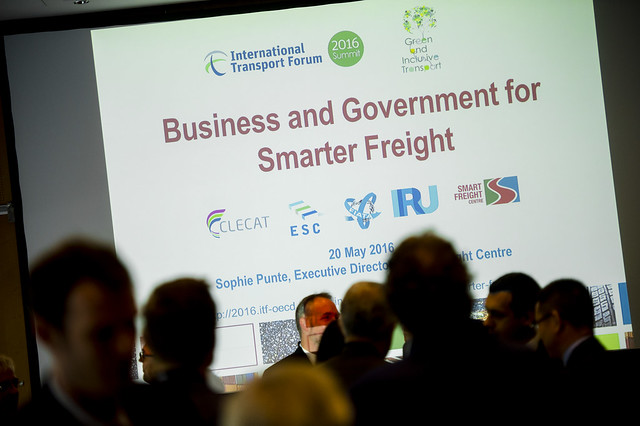 Audience prepares for presentation about smarter freight