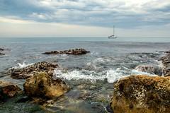 Chapman's Pool, in the Purbecks. (ianperkins11) Tags: sea cloud southwest coast landscapes boat rocks seascapes yacht tide wave dorset worthmatravers rockpools purbecks chapmanspool southwestcoastpath