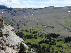 Looking down on the Teton Crest Trail from Fossil Mountain (Anne's Travels 4) Tags: wyoming tetons grandtetonnationalpark jedediahsmithwilderness darbycanyon upperdarbycanyon