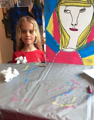 Violet And Her Self-Portrait (Joe Shlabotnik) Tags: cameraphone selfportrait reflection painting notmine violet 2016 justviolet galaxys5 may2016