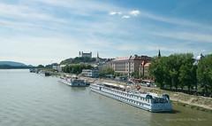 May 21: Bratislava New Danube Bridge Pano (johan.pipet) Tags: city bridge skyline canon river boat europe flickr downtown ship hill eu most slovensko slovakia palo bratislava danube hrad donau bartos mesto rieka dunaj castke barto