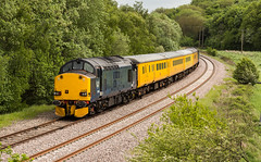 Ex-DRS Class 37/6 no 37608 Approaches Boughton Junction on the Network Rail Test Track on 20/05/2016 (kevaruka) Tags: railroad blue england test orange color colour colors yellow yard train canon eos spring high mine flickr track colours britain outdoor united great transport rail railway kingdom trains front pit junction mining page april vehicle 5d locomotive dull freight nottinghamshire colliery boughton 1635 thoresby edwinstowe mk3 clipstone 2016 colas ef100400 37175 37424 37608 f4556l marnham cpal 37602 drs37 5d3 5diii ilobsterit