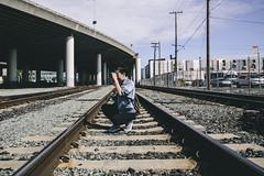 22/365 (luana lee photography) Tags: sanfrancisco lighting railroad bridge sky girl skyline photography model photographer traintracks tracks wideangle skylin