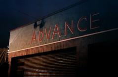 Advanced (robbymassey) Tags: california street light color reflection film shop night 35mm dark los streetlight moody fuji sad angeles kodak ae1 midnight 800iso