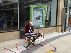 Horsing Around (metrogogo) Tags: ass birmingham keyboard donkey bank organ entertainer busker blackhorse organist horsingaround