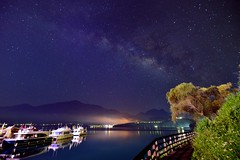 Milky way at Sun Moon Lake  (Vincent_Ting) Tags: morning sunset sky lake water clouds sunrise dawn pier taiwan galaxy   crepuscularrays  sunmoonlake milkyway                  vincentting