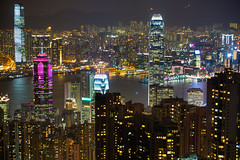 Hong Kong at Night (fate atc) Tags: longexposure hk night buildings hongkong cityscape skyscrapers citylights victoriapeak nightskyline midlevelapartments