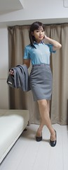DSC07698 (mimo-momo) Tags: blue japanese ol gray crossdressing transvestite crossdresser crossdress classy
