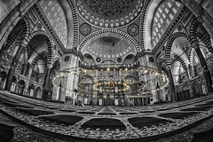 Sleymaniye Mosque (Sean X. Liu) Tags: sleymaniye mosque istanbul interior architecture blackandwhite blackwhite monochrome turkey fisheye distrotion perspective
