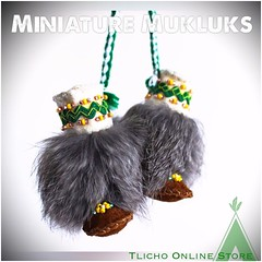 Today my summer student took the photos.  She did a fantastic job!  #Miniature #Mukluks made by Marie Adele Wetrade from #Gameti, NT on http://onlinestore.tlicho.ca (Tlicho Online Store) Tags: miniature mukluks gameti