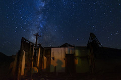 Crumbled (magnetic_red) Tags: shack abandonded ruins wooden building mining stars night nightscape milkyway longexposure nevada ghosttown gold point americanwest cross