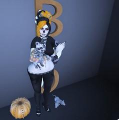 Post #1772 ( =^^=) Tags: halloween scary spooky skeleton applier hud mesh pinkatude sashakitteh wildrose secondlife fashion blog pink black orange claws roses choker pentacle pentagram alien kitty cat eyes gacha rare pumpkin spike rat boo ghost wall decor tattoo