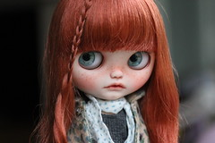 JUNO (andreeamariuka) Tags: blythe custom mariuka mariukadolls doll prairieposie cute carving freckles faceup redhead fringe puppelina eyechips shy child