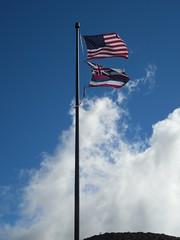 The Flags in the Wind (jimmywayne) Tags: haleakala nationalpark hawaii maui mauicounty crater volcano flag usa stateflag