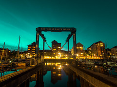 Life is Magic (RS400) Tags: portishead water dock sea sky wow amazing wicked night time magic blue golden lights shadows olympus reflections reflection buildings art
