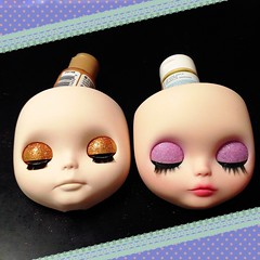 WIP sneak preview (RoxyPaige) Tags: orange glitter pumpkin gold factory lashes eyelashes purple faceplate wip blythe custom unicorn eyelids sbl