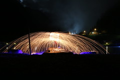 Summer 2014 at lake in Tirol,Austria (lukasmeyer46) Tags: light lake lightpainting wool night painting see paint nacht steel stahl steelwool wolle spinnig stahlwolle