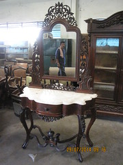 Marble-Topped Console Table with Mirror (Leo Cloma) Tags: furniture antique philippines manila antiques cloma