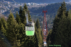 Aerial tramway to Carpathian Mountains (Andrew Konstantinov) Tags: city travel blue trees sky mountains green canon fly high cabin top extreme peak aerial adventure journey romania rise meters tramway aerialtramway peles 6d carpathian