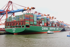 CSCL GLOBE (Martin Fester) Tags: china globe ship hamburg line container shipping elbe cscl burchardkai chinashippingline waltershof eurogate containerbridges csclglobe