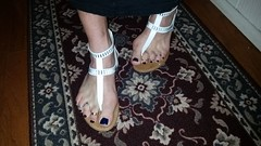 White t-strap sandals with nail polish and toe rings (2moshoes) Tags: white man toes sandals nailpolish