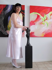Art (Paula Satijn) Tags: pink sexy girl shiny soft silk tgirl transvestite slip satin gurl silky nightgown nightdress nightie