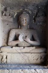 India - Maharashtra - Ajanta Caves - Cave 1 - Sitting Buddha - 86 (asienman) Tags: india rock maharashtra ajantacaves asienmanphotography