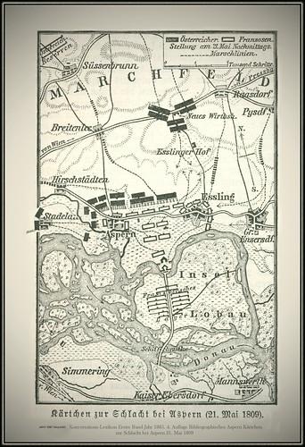 s0947 3387 MeyA4B1 Konversations-Lexikon Erster Band Jahr 1885. 4. Auflage Bibliographische Institut in Leipzig Aspern Kärtchen zur Schlacht bei Aspern 21. Mai 1809