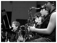 Christmas Concert (daveelmore) Tags: bw music students children blackwhite concert band horns brass christmasconcert mzuiko75300ii