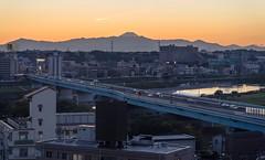 (sandman_kk) Tags: road bridge mountain japan landscape tokyo cityscape fuji dusk 2014