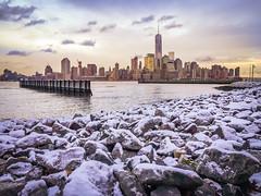 Snow and the tower (anuragyagnik) Tags: newyorkcity usa snow newyork nature us newjersey jerseycity downtown unitedstates freedomtower 1worldtradecenter
