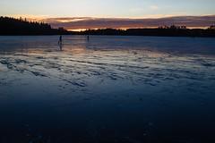 Norrviken Hockey (Daniel Jonason) Tags: sunset sky people lake ice hockey clouds frozen x100s