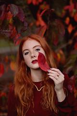 Red (Benedetta ed Emanuele) Tags: blue autumn red love nature girl beautiful beauty fashion season landscape 50mm golden ginger amazing model nikon friend rocks body gorgeous fineart freckles lenses nikonclub