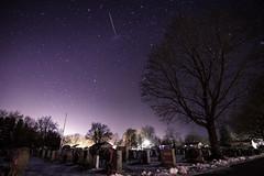 Cemetery Stars (Chris Whit) Tags: longexposure cemetery graveyard silhouette night stars star headstone creepy nighttime erie meteor milkyway