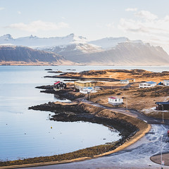 Peacefull hour (Vincent Moschetti) Tags: morning travel light sea snow mountains cold port sunrise landscape golden harbor landscapes early iceland village hour fjord djupivogur