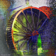Once a wheel of fortune - now silent (Lemon~art) Tags: old colour history texture industry wheel silent manipulation historic waterwheel unused flaxspinning