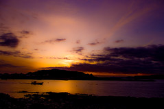 The Night Boat (Brian Travelling) Tags: light sunset shadow sky water beautiful night clouds landscape outdoors scotland boat colours outdoor shade rib