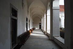Archs2 (modestmoze) Tags: old windows roof red orange brown white green history church glass lines yellow architecture outside outdoors grey wooden warm day doors shadows chairs columns sunny monastery tiles walls bushes archs lithuania kaunas 2016 500px