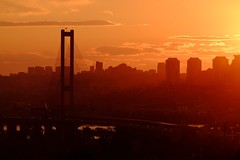 Kiev bridges (meleshko.alex) Tags: city bridge sunset sky panorama orange sun building water clouds river europe fuji ukraine telephoto citylights fujifilm brige kiev kyiv hdr 55200mm kyev dniper xt1