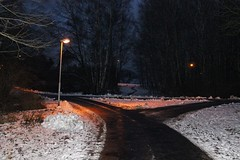 Crossroads in wintertime (Alexander Andersen) Tags: snow night streetlight eerie lamppost forested
