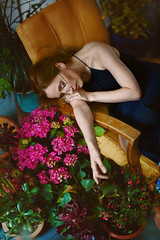 The Botanist (Ella Ruth) Tags: flowers portrait woman floral fashion 50mm glasses nikon photographer shropshire leicester 14 naturallight shrewsbury indoors d750 colourful botany spectacles hydrangeas yellowchair botanist ellaruth letsgetcreative lgc2016 armchairmvintagechair roundspecs