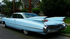 1959 Cadillac baby blue (bottledale999) Tags: auto street new blue wild baby house hot sexy classic westminster beauty car vancouver vintage lights cool gm bc sweet tail cadillac eldorado neighborhood chrome 1950s rod restoration bullet deville fins caddy 1959 coup