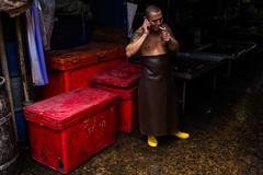 (sameerwalzade) Tags: red portrait colour yellow thailand asia southeastasia market bangkok streetphotography streetportrait smoking flame fujifilm fujifilmx100t fujifilmstreetphotography