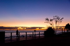 Moongazing and Sunrising (armct) Tags: moonrise silhouette surfbeach burleighheads goldcoast queensland foreshore crescentmoon moon sunrise morning reflection lookout