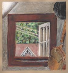 Closet window (Marcia Milner-Brage) Tags: summer window closet interior insideoutside watercolorpencils cedarfallsiowa marciamilnerbrage cansonwickercoloredscrapbook