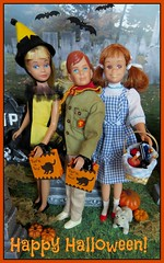 Happy Halloween, Flickr Friends! (Foxy Belle) Tags: orange holiday halloween cemetery graveyard yellow vintage children toy dorothy costume doll candy oz wizard clown bat barbie skipper scout scooter ricky toto masquarade picmonkey