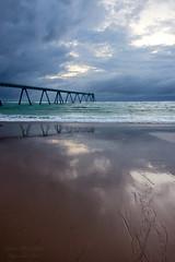 Sand lines ((Virginie Le Carr)) Tags: ocean sky cloud storm reflection landscape sand sable atlantic ciel wharf nuage paysage reflets orage atlantique ocan lasalie